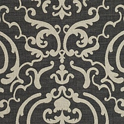 Safavieh Bimini Damask Black/ Sand Indoor/ Outdoor Rug (8' x 11') - Thumbnail 2