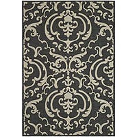 Safavieh Bimini Damask Black/ Sand Indoor/ Outdoor Rug (8' x 11') - 7'10 x 11'