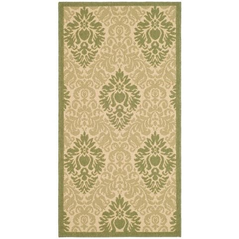 "Safavieh St. Barts Damask Natural/ Olive Green Indoor/ Outdoor Rug - 2'7"" x 5'"
