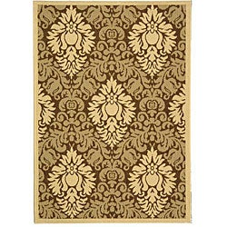 Safavieh St. Barts Damask Brown/ Natural Indoor/ Outdoor Rug (2'7 x 5')