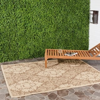 Safavieh St. Barts Damask Brown/ Natural Indoor/ Outdoor Rug (5'3 x 7'7)