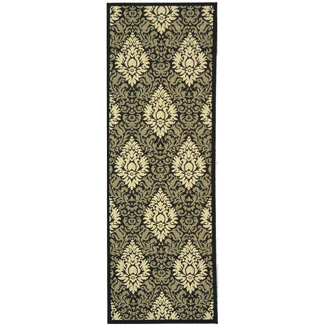 Safavieh St. Barts Damask Black/ Sand Indoor/ Outdoor Rug (2'4 x 6'7)
