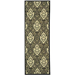 Safavieh St. Barts Damask Black/ Sand Indoor/ Outdoor Rug (2'4 x 6'7)