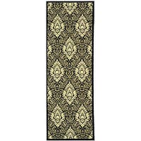 "Safavieh St. Barts Damask Black/ Sand Indoor/ Outdoor Rug - 2'3"" x 6'7"""