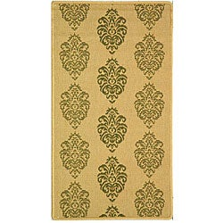 Safavieh St. Martin Damask Natural/ Olive Green Indoor/ Outdoor Rug (2' x 3'7)