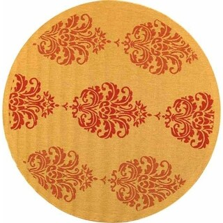 "Safavieh St. Martin Damask Natural/ Red Indoor/ Outdoor Rug - 6'7"" x 6'7"" round"
