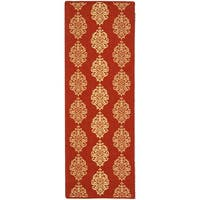 Safavieh St. Martin Damask Red/ Natural Indoor/ Outdoor Runner - 2'4 x 6'7