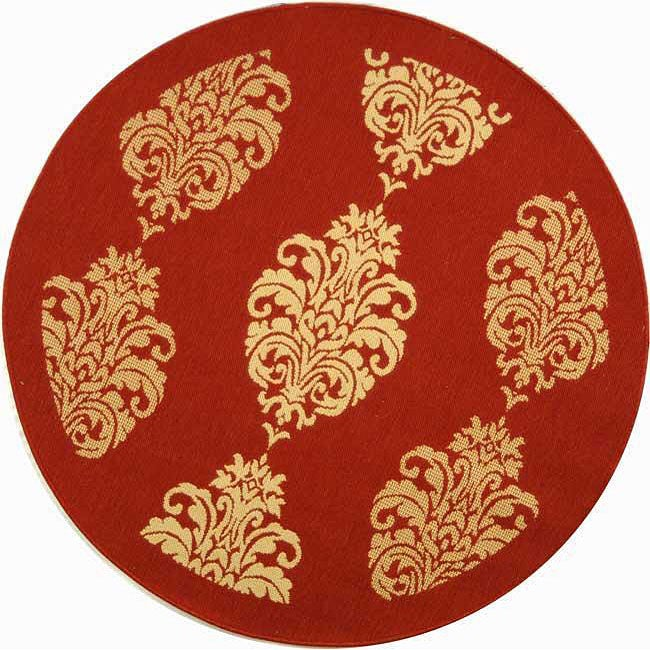 "Safavieh St. Martin Damask Red/ Natural Indoor/ Outdoor Rug - 5'3"" x 5'3"" round"