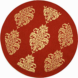 "Safavieh St. Martin Damask Red/ Natural Indoor/ Outdoor Rug - 5'3"" x 5'3"" round - Thumbnail 0"