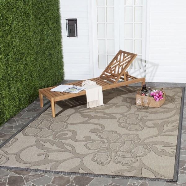 Safavieh Aruba Sand/ Black Indoor/ Outdoor Rug - 7'10 x 11'