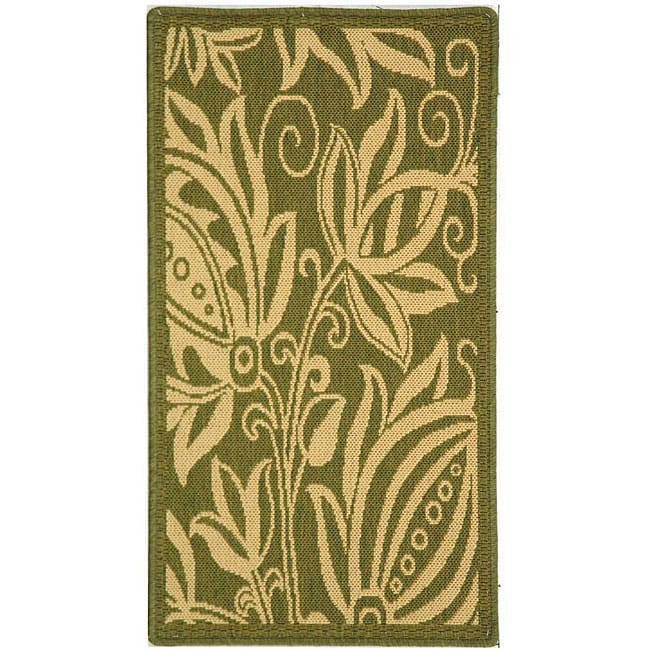 Safavieh Andros Olive Green/ Natural Indoor/ Outdoor Rug (2' x 3'7) - Thumbnail 0