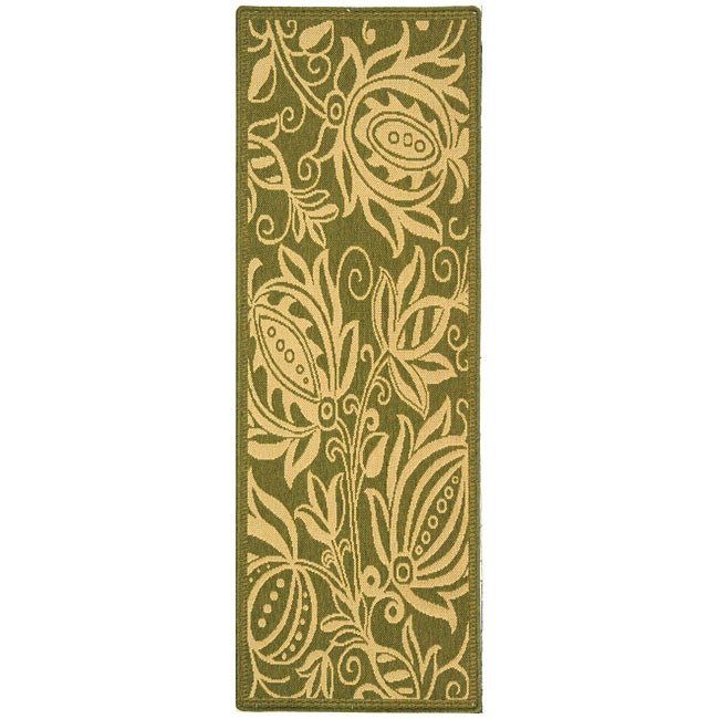 Safavieh Andros Olive Green/ Natural Indoor/ Outdoor Runner - 2'4 x 6'7