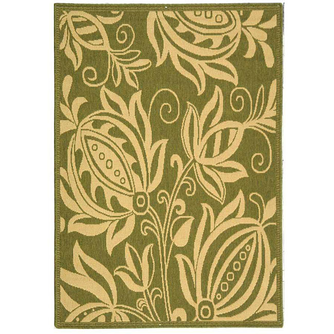 Safavieh Andros Olive Green/ Natural Indoor/ Outdoor Rug (4' x 5'7)