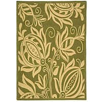 Safavieh Andros Olive Green/ Natural Indoor/ Outdoor Rug - 4' x 5'7