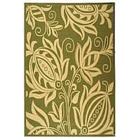 Safavieh Andros Olive Green/ Natural Indoor/ Outdoor Rug - 5'3 x 7'7
