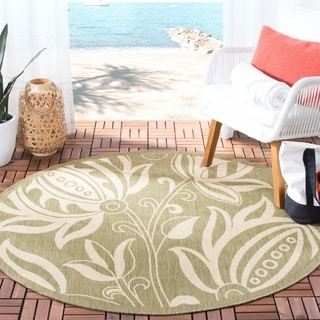 Safavieh Andros Olive Green/ Natural Indoor/ Outdoor Rug (5'3 Round)