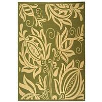 Safavieh Andros Olive Green/ Natural Indoor/ Outdoor Rug - 6'7 x 9'6