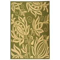 """Safavieh Andros Olive Green/ Natural Indoor/ Outdoor Rug - 6'-7"""" x 9'-6"""""""