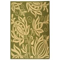 "Safavieh Andros Olive Green/ Natural Indoor/ Outdoor Rug - 6'7"" x 9'6"""