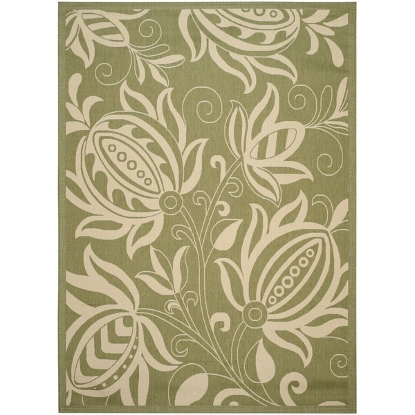 Safavieh Andros Olive Green/ Natural Indoor/ Outdoor Rug - 8' X 11'