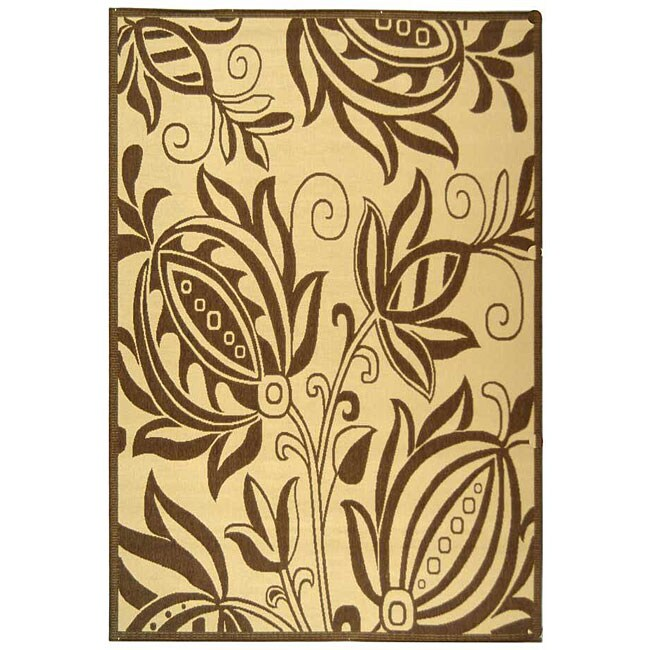 Safavieh Andros Natural/ Brown Indoor/ Outdoor Rug (6'7 x 9'6)