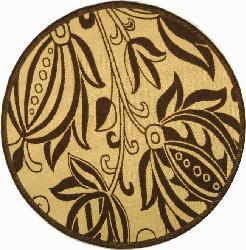 Safavieh Andros Natural/ Brown Indoor/ Outdoor Rug (6'7 Round) - Thumbnail 2
