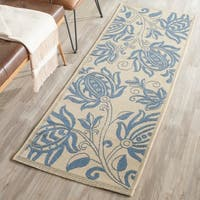 "Safavieh Andros Natural/ Blue Indoor/ Outdoor Rug - 2'3"" x 6'7"""
