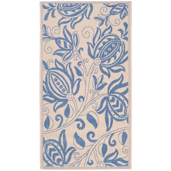 """Safavieh Andros Natural/ Blue Indoor/ Outdoor Rug - 2'-7"""" x 5'"""