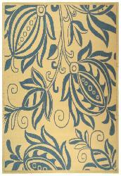 Safavieh Andros Natural/ Blue Indoor/ Outdoor Rug (4' x 5'7) - Thumbnail 2