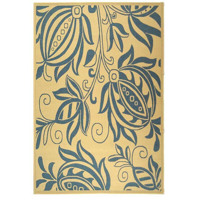 Safavieh Andros Natural/ Blue Indoor/ Outdoor Rug - 4' x 5'7