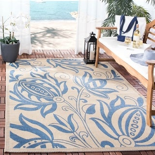 """Safavieh Andros Natural/ Blue Indoor/ Outdoor Rug - 4' x 5'-7"""""""