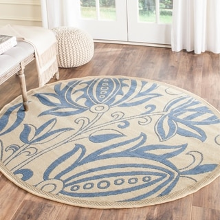Safavieh Andros Natural/ Blue Indoor/ Outdoor Rug (5'3 Round)