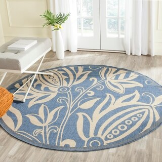 Safavieh Andros Blue/ Natural Indoor/ Outdoor Rug (5'3 Round)