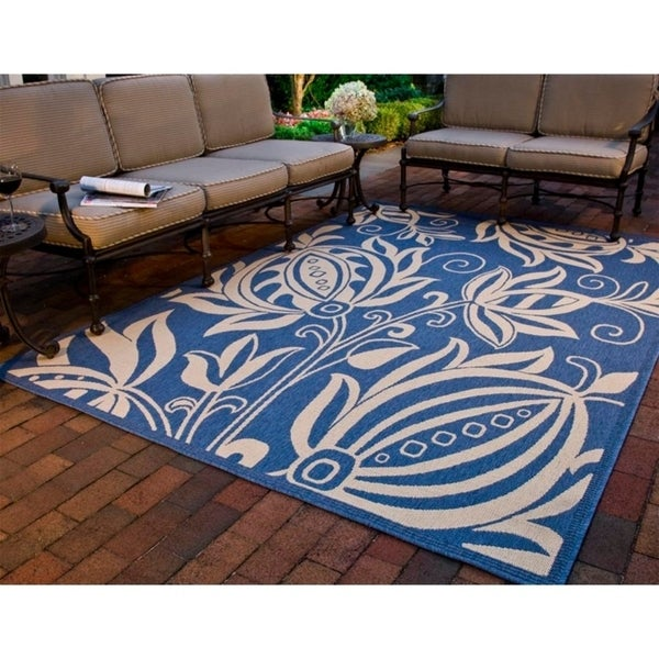 """Safavieh Andros Blue/ Natural Indoor/ Outdoor Rug - 6'-7"""" x 9'-6"""""""