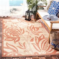 "Safavieh Andros Natural/ Terracotta Indoor/ Outdoor Rug - 6'-7"" x 9'-6"""