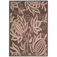 """Safavieh Andros Chocolate/ Natural Indoor/ Outdoor Rug - 5'-3"""" x 7'-7"""""""