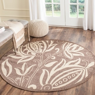 Safavieh Andros Chocolate/ Natural Indoor/ Outdoor Rug (6'7 Round)