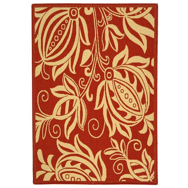 Safavieh Andros Red/ Natural Indoor/ Outdoor Rug (4' x 5'7)