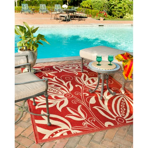 "Safavieh Andros Red/ Natural Indoor/ Outdoor Rug - 5'3"" x 7'7"""