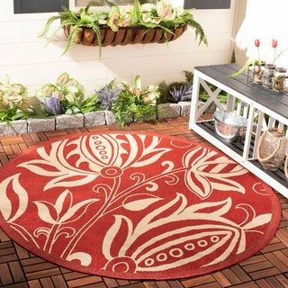 Safavieh Andros Red/ Natural Indoor/ Outdoor Rug (5'3 Round)