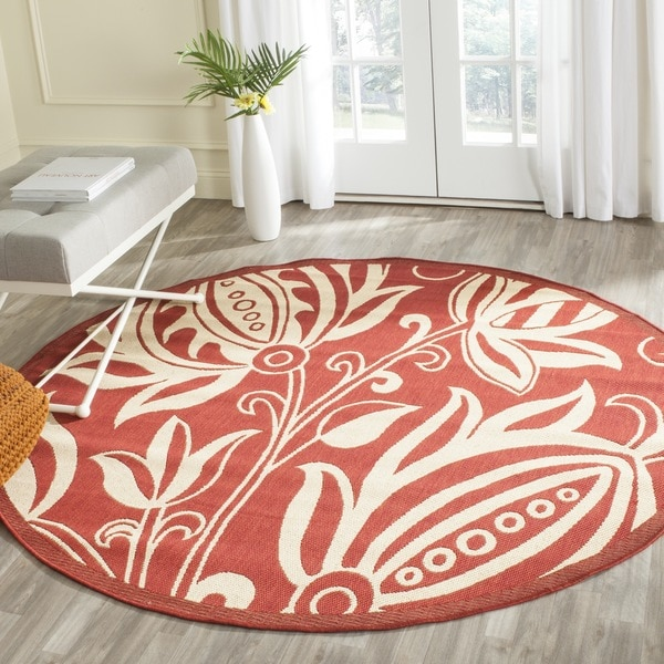 Safavieh Indoor/ Outdoor Andros Red/ Natural Rug (5'3 Round)