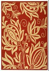 Safavieh Andros Red/ Natural Indoor/ Outdoor Rug (6'7 x 9'6) - Thumbnail 1