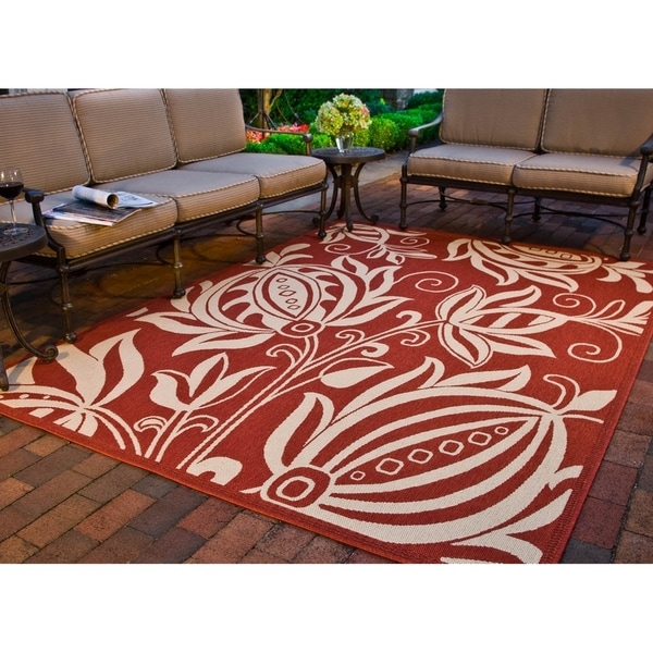"""Safavieh Andros Red/ Natural Indoor/ Outdoor Rug - 6'-7"""" x 9'-6"""""""