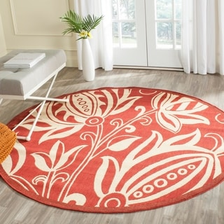 Safavieh Indoor/ Outdoor Andros Red/ Natural Rug (6'7 Round)