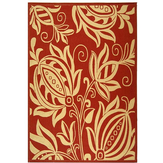 Safavieh Indoor/ Outdoor Andros Red/ Natural Rug (8' x 11')