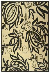Safavieh Andros Sand/ Black Indoor/ Outdoor Rug (6'7 x 9'6) - Thumbnail 1
