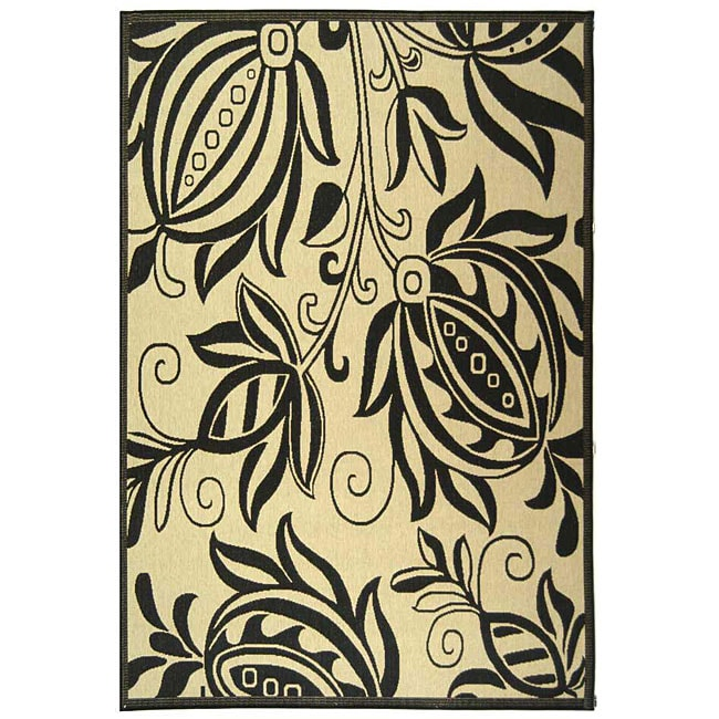 Safavieh Andros Sand/ Black Indoor/ Outdoor Rug (6'7 x 9'6)