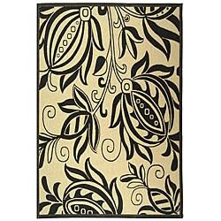 Safavieh Andros Sand/ Black Indoor/ Outdoor Rug - 6'7 x 9'6 - Thumbnail 0