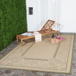 Safavieh Abaco Natural/ Olive Green Indoor/ Outdoor Rug (5'3 x 7'7)