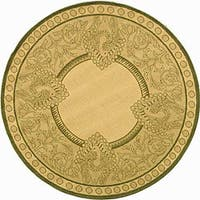 """Safavieh Abaco Natural/ Olive Green Indoor/ Outdoor Rug - 5'3"""" x 5'3"""" round"""